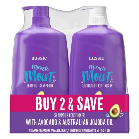 Amazon Com Aussie Miracle Moist Shampoo And Conditioner Sulfate Free Infused With Avocado Australian Jojoba Oil Beauty